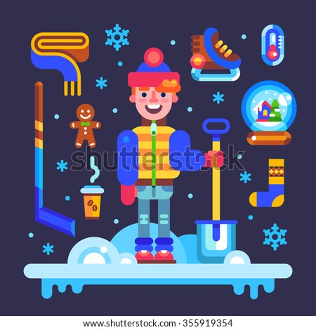 Set of winter attributes for fun and holidays: guy character with shovel, hockey skates and stick, scarf, xmas glass ball, gingerbread man, thermometer, snowflakes. Vector flat illustration an icons. - stock vector