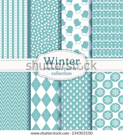 Set of winter backgrounds. Collection of seamless patterns with pale blue and white colors. Vector illustration. - stock vector