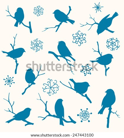 Set of winter birds - stock vector