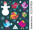 Set of winter birds and snow man. vector - stock vector