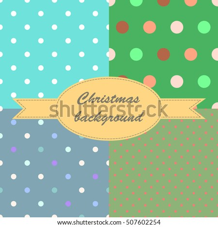 Set of winter blue and green seamless pattern with small circles and dots for Christmas design. Christmas background