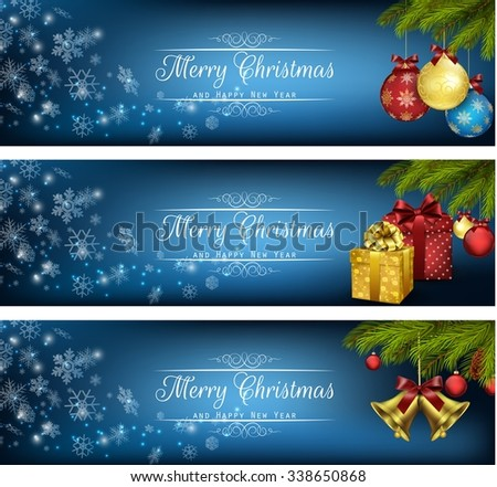 Set of winter christmas banners with gift boxes, balls and bells vector - stock vector