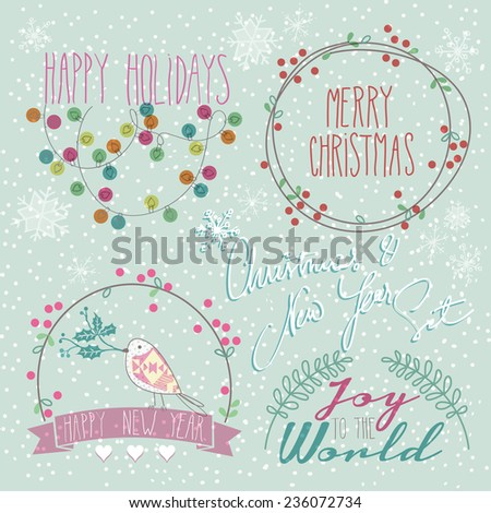 Set of Winter, Christmas, New Year doodle icons and elements - stock vector