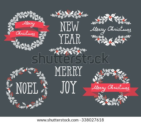 Set of winter christmas wreaths, design elements - stock vector