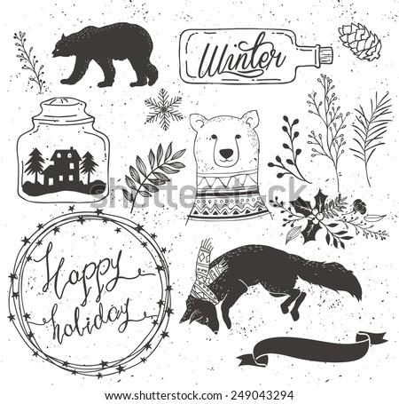 set of winter collection:bear,bottle,ribbon,fox,snowflake,leaf,flower,floral bouquet,house,bud,branch - stock vector