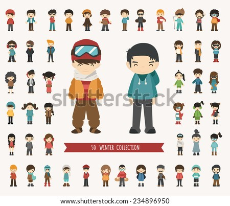 Set of winter collection character , eps10 vector format - stock vector
