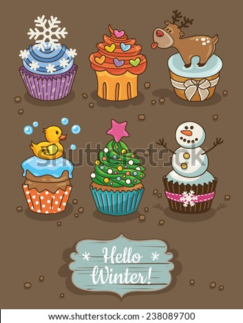 Set of winter cupcakes with different toppings - stock vector