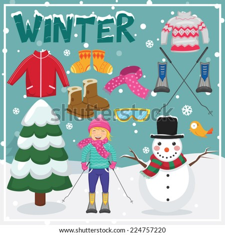 Set of Winter Elements and Illustrations - stock vector