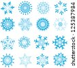 Set of winter frozen snowflakes. Fully editable EPS 8 vector version. - stock vector