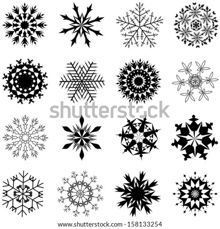 Set of winter frozen snowflakes. Fully editable EPS 10 vector version. - stock vector