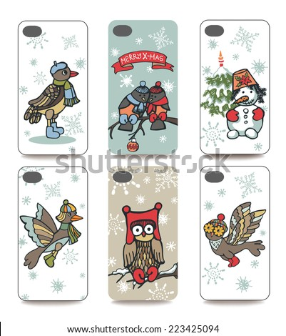 Set of Winter funny  bird and snowman for mobile phone cover.Visible part of the clipping mask.Sample is ready for printing after the release clipping mask.Christmas, new year Vector illustration  - stock vector