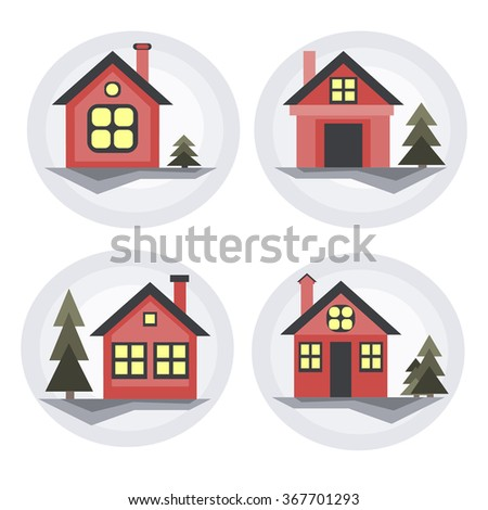 Set of winter houses