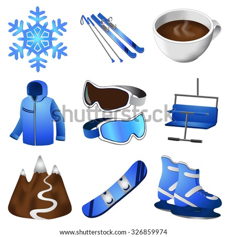 Set of winter icons. Sport. Ski base.