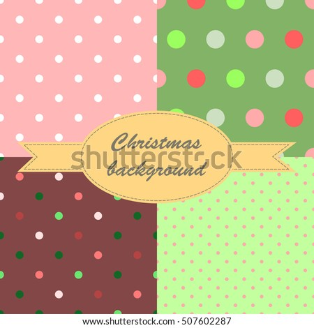 Set of winter red and green seamless pattern with small circles and dots for Christmas design. Christmas background