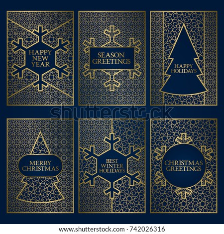 Set winter season greeting cards templates stock vector 742026316 set of winter season greeting cards templates golden frames design for new year and merry m4hsunfo