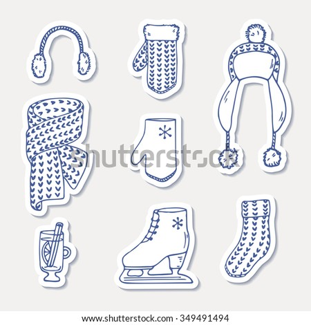 Set of winter stickers. Hand drawn outline knitted accessories. Cute clip art. Vector illustration - stock vector