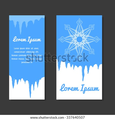 Set of winter template with place for text for flyers, coupons, vouchers and your business