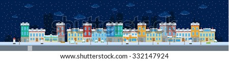 Set of winter urban city buildings and constructions in snow to make a real street from - stock vector