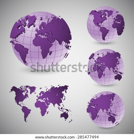 Set of wire frame world globes - stock vector