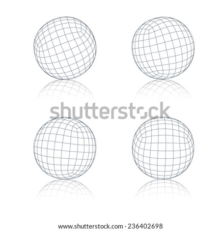Set of wireframe spheres . Vector illustration.