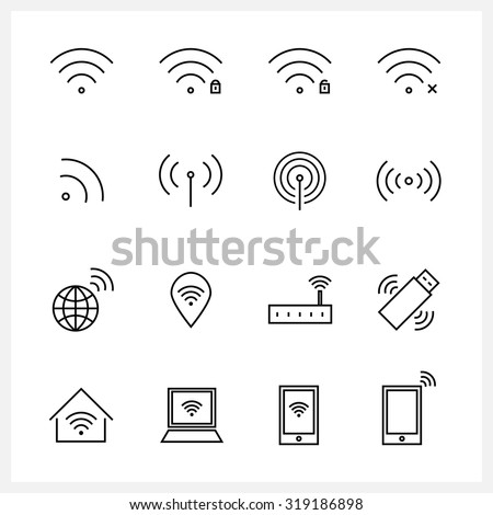 Set of Wireless and wifi icons - stock vector