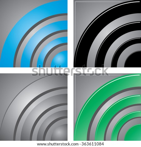 set of wireless radio signal square icons or concentric circles texture background. vector illustration - stock vector