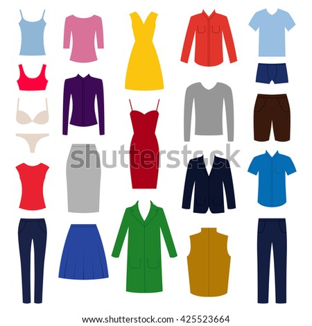 Set of woman and man clothes icons, vector illustration - stock vector
