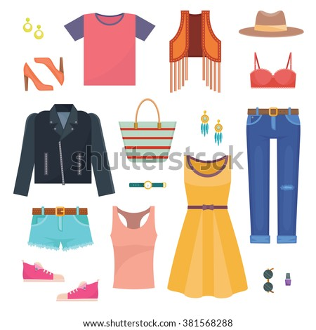 Set of woman casual clothes capsule wardrobe - create your own outfit. Simple flat vector illustration  - stock vector