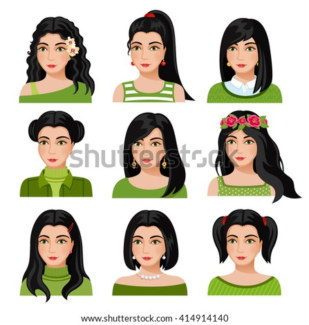 Set of woman faces with various hairstyle. Collection of young girls portraits. Different avatars of brown-haired girls. Vector illustration. - stock vector