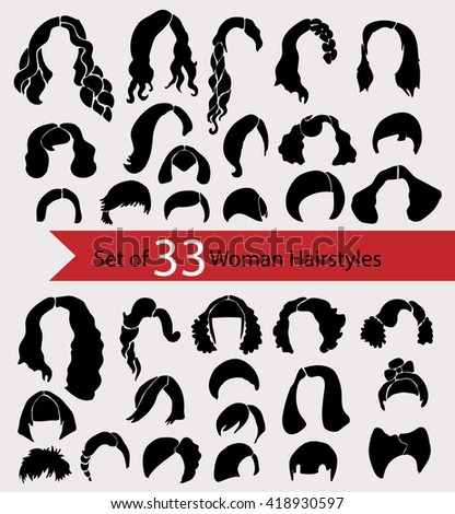 Set of 33 Woman hairstyles. Monochrome icons.vector hairstyle silhouette.