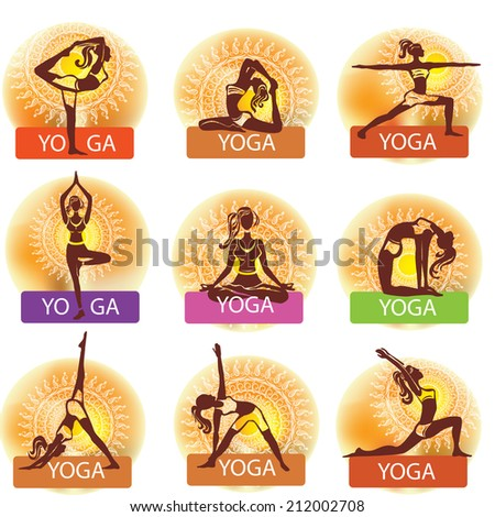 Set of woman in meditating and doing yoga poses - stock vector