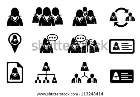 Set of woman management icons - stock vector