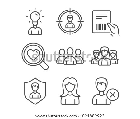 Set Woman Search Love Headhunting Icons Stock Vector