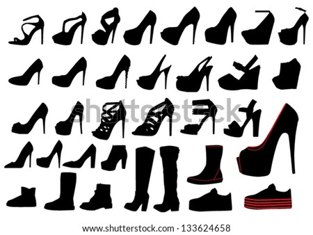 Set of woman shoe silhouettes - stock vector