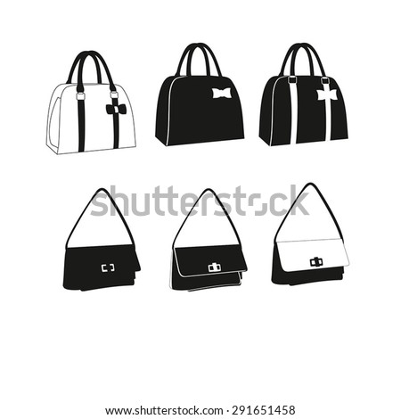 Set of Women Bags  vector illustration isolated on white background. Bags icons set. Set of  clutch, handbags ,purse black and white. Womam vector handbag. - stock vector