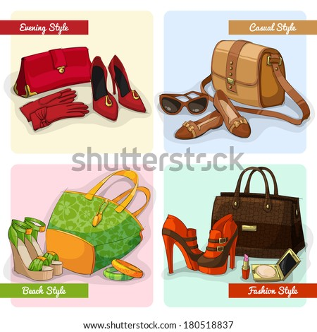 Set of women elegant bags shoes and accessories in evening fashion casual and beach style isolated vector illustration