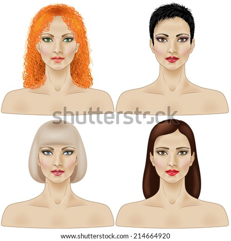 Set of women faces with different hairstyle isolated  on white. - stock vector
