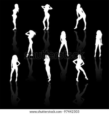 Set of women in bikini, vector - stock vector