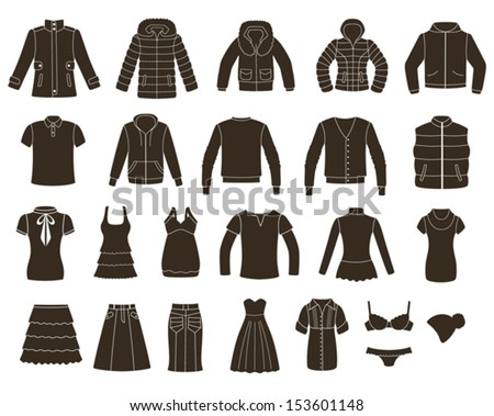Set of women's and men's clothing.  - stock vector