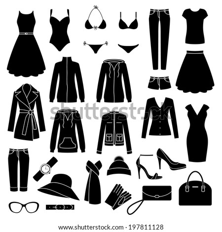 Set of women's clothes and accessories icons. - stock vector