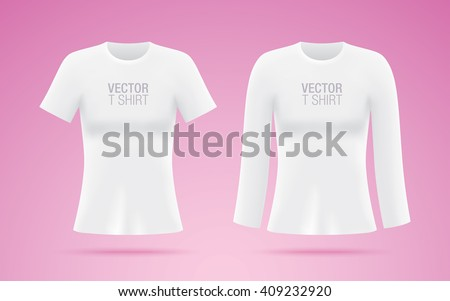 Set of women's short and long sleeve vector shirts. White T-shirt templates isolated on pink background. Realistic mockup. - stock vector