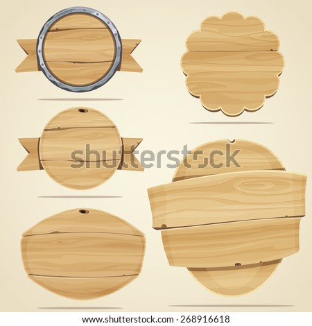 Set of wood elements for design. Vector illustration - stock vector