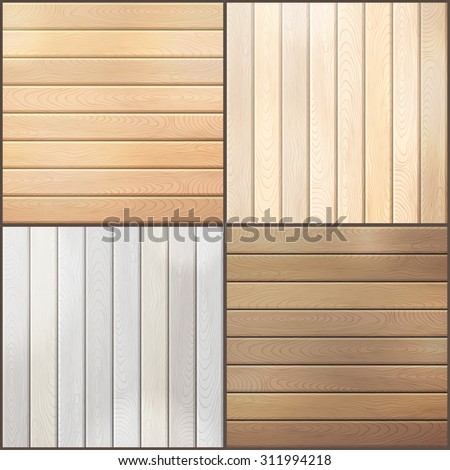 Set of wood plank backgrounds. Various square backgrounds with horizontal and vertical planks. - stock vector