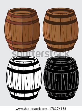set of wooden barrels - stock vector