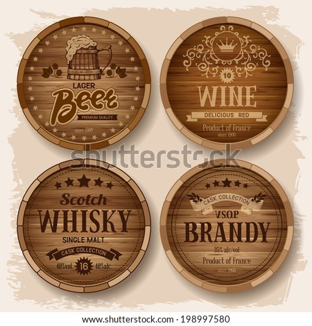 Set of wooden barrels with alcohol drinks emblems. Vector illustration  - stock vector