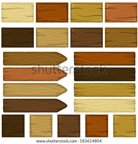 Set of wooden bricks and planks in cartoon style - stock vector