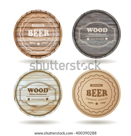 Set of wooden casks with alcohol drinks emblems - vector illustration template design ( Image trace of wooden background ) - stock vector