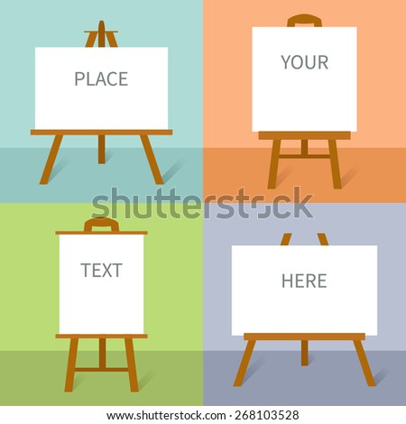 Set of wooden easels with canvas in flat design - stock vector