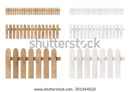 Set of wooden fences isolated on white background. Vector illustration. - stock vector