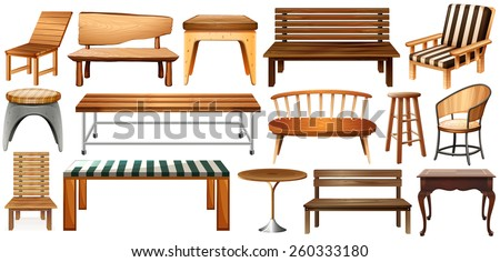 Set of wooden furnitures on a white background - stock vector